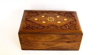 SH1035 - Carved Teak Wood Box Inlay Design
