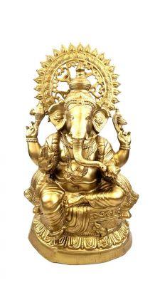 AL50134B - Aluminum Ganesh Statue (Brass Finish)