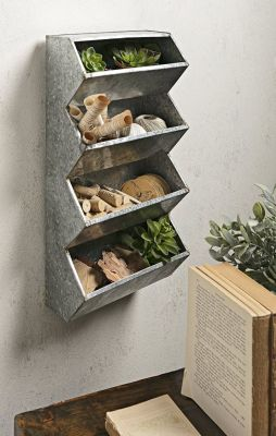 IR 1371 - Wall Storage and Mail Sorter, 3-Tier - Galvanized Metal