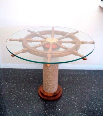 "SH89640 - 30"" Ship Wheel Table w/ 36"" Glass & Rope Base."