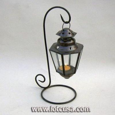 IR15299 - Set of 2 Glass Lantern With Iron Stand.