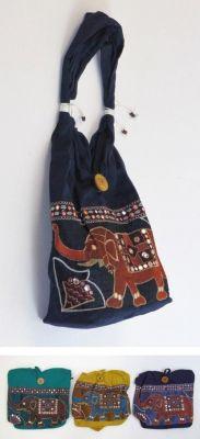 20025 - Handbag - elephant, bead and embroidery work, inner pocket w/zipper & button