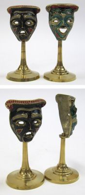 BR20072 - Brass Drama Laughing/Crying Masks, on Pedestals, 4.5