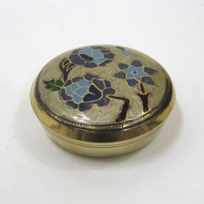 BR2329 - Brass Round Box With Flowers On Lid