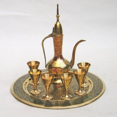 BR2350 - Etched, Painted Brass Wine Set w/ Aftaba