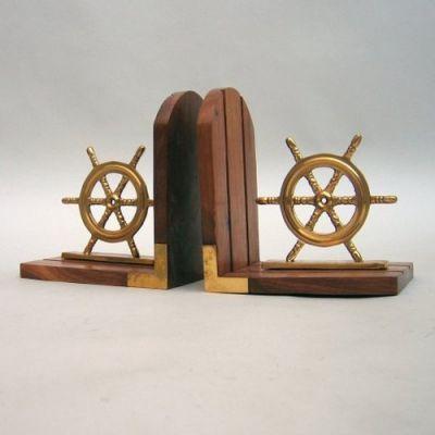 BR48656 - Book End Pair, Ship Wheel Wooden Base