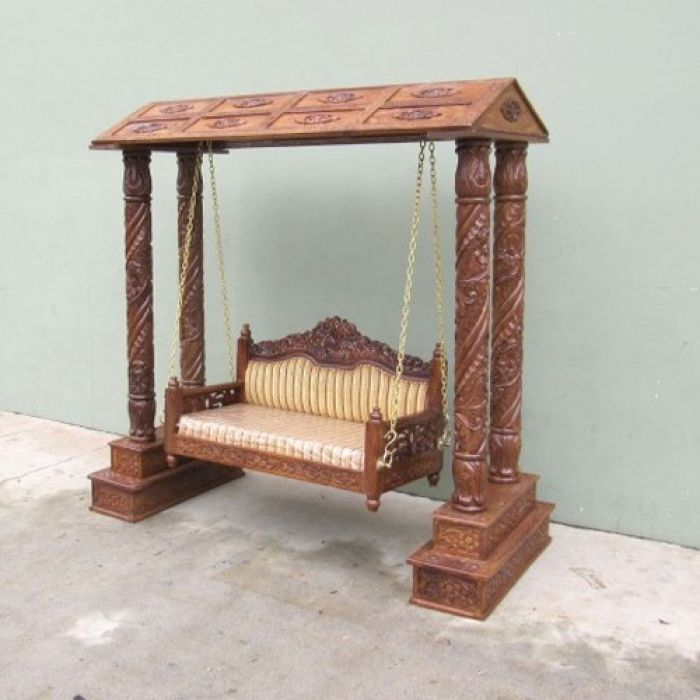 Sh70091 Carved Wooden Jhoola Swing 4 Pillars With Canopy