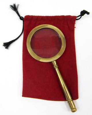 "MR4810 - Magnifying Glass w/ Sm Red Velvet Pouch 4 1/4""L"