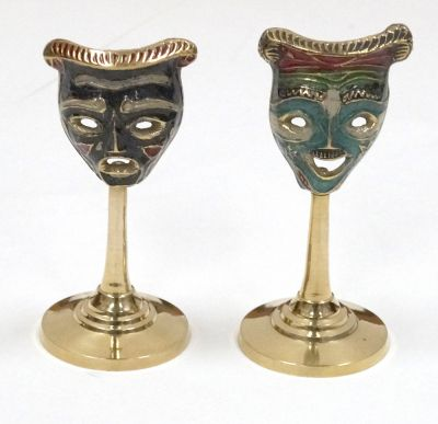 BR20071 - Brass Painted Drama Mask Pair On Pedestal