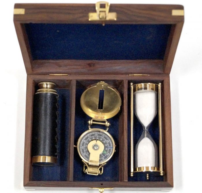 Nautical Gift Box - With compass, timer and telescope in Wooden Box