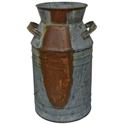 "IR2567 - Milk Can - 10-3/4"" Galvanized Finish - Country Rustic Primitive Jug Vase"